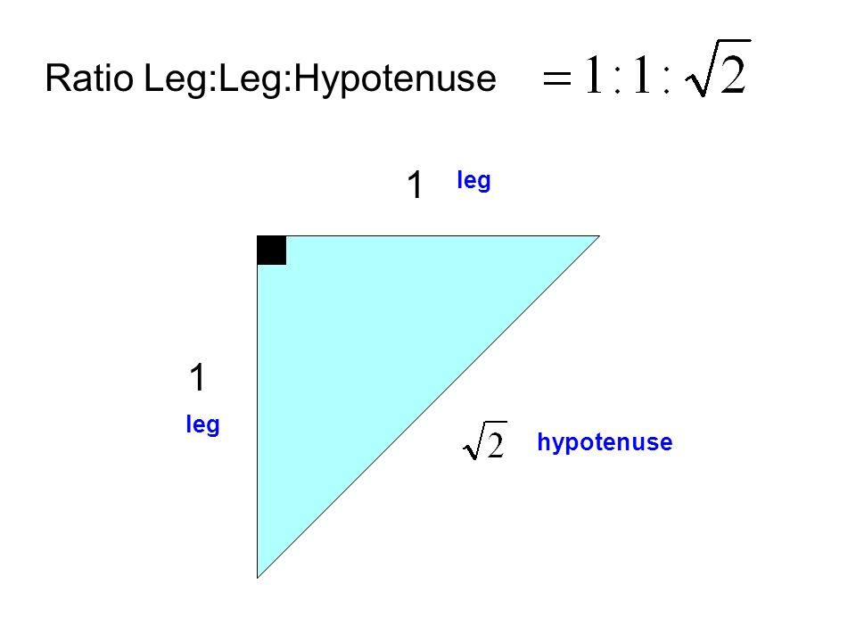 1 1 Ratio Leg:Leg:Hypotenuse leg hypotenuse