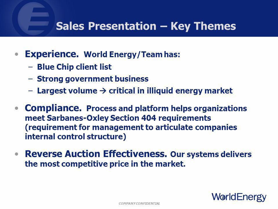 COMPANY CONFIDENTIAL Sales Presentation – Key Themes Experience. World Energy/Team has: –Blue Chip client list –Strong government business –Largest vo