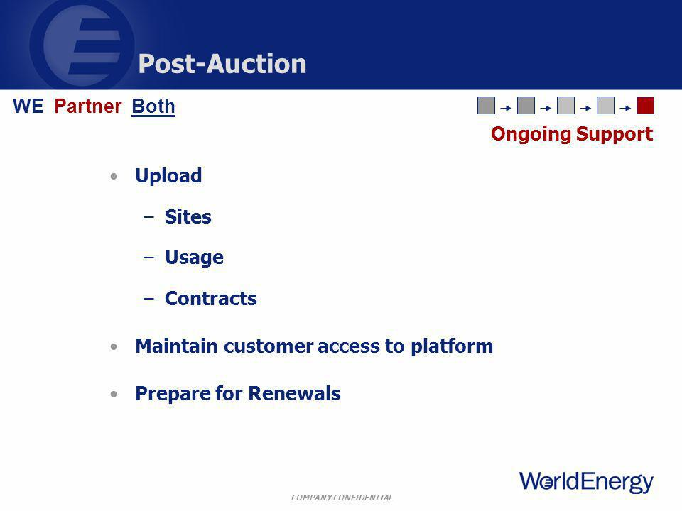 COMPANY CONFIDENTIAL Post-Auction Upload –Sites –Usage –Contracts Maintain customer access to platform Prepare for Renewals Ongoing Support WE Partner