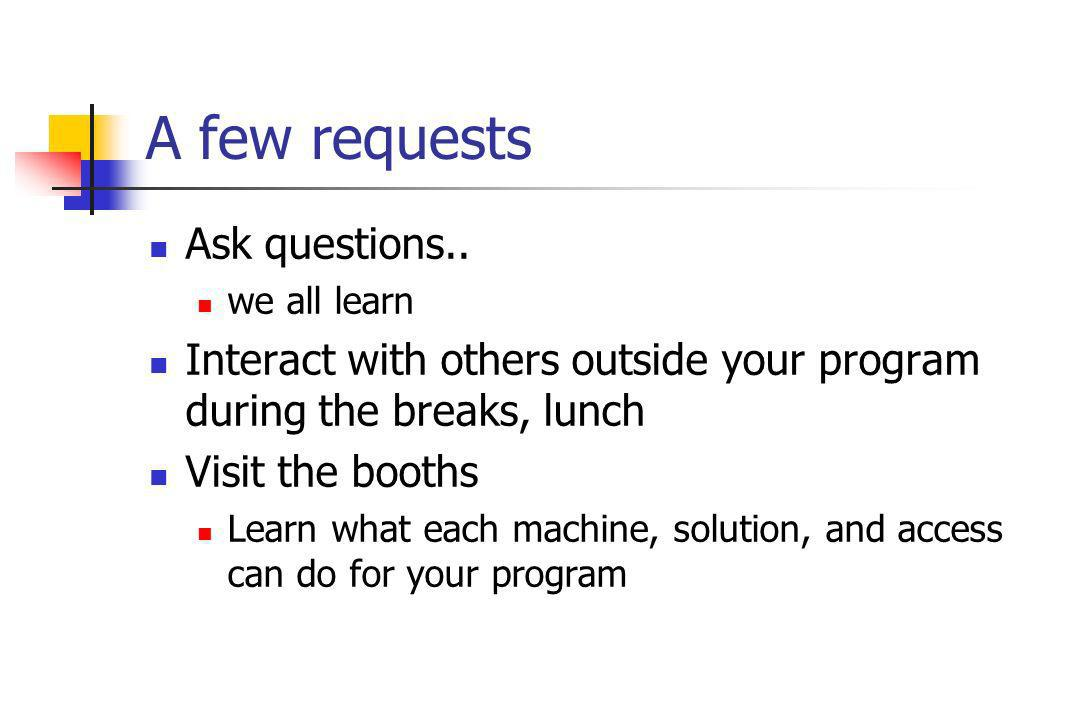 A few requests Ask questions..