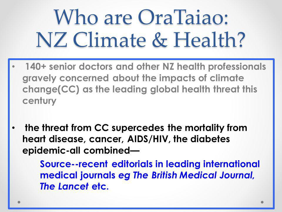 Who are OraTaiao: NZ Climate & Health.