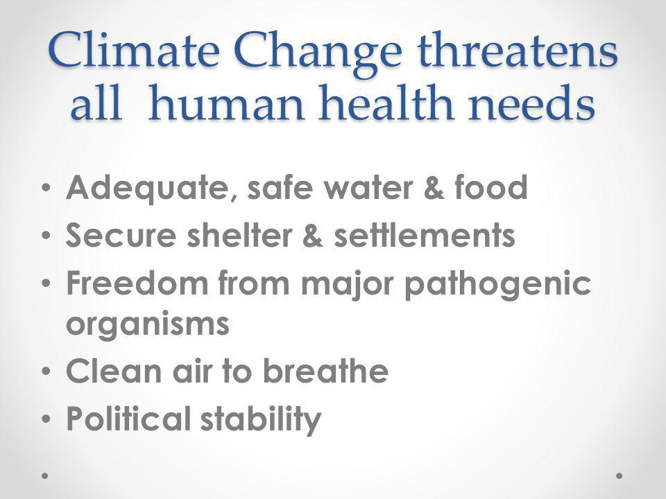 Adequate, safe water & food Secure shelter & settlements Freedom from major pathogenic organisms Clean air to breathe Political stability Climate Change threatens all human health needs