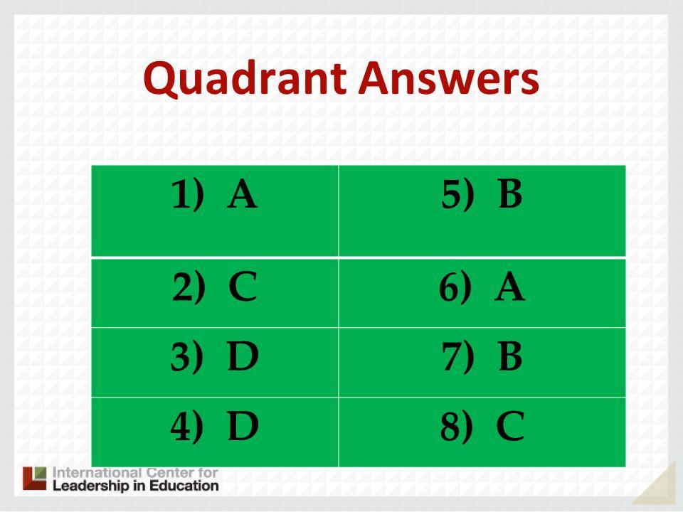 Quadrant Answers 1) A5) B 2) C6) A 3) D7) B 4)D8) C