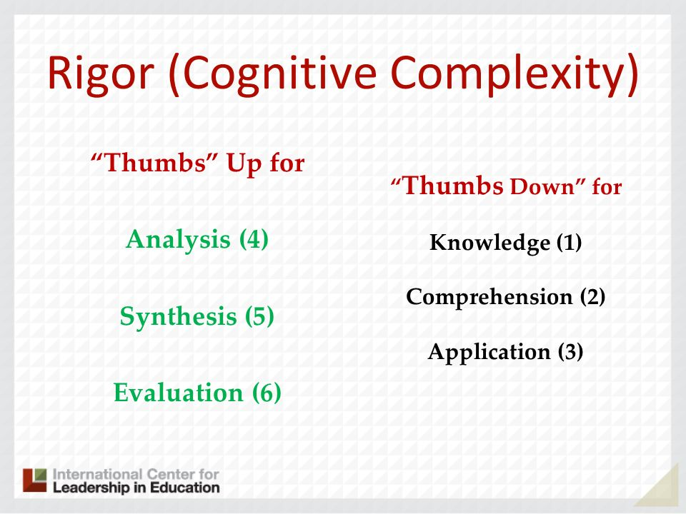 Rigor (Cognitive Complexity) Thumbs Up for Analysis (4) Synthesis (5) Evaluation (6) Thumbs Down for Knowledge (1) Comprehension (2) Application (3)