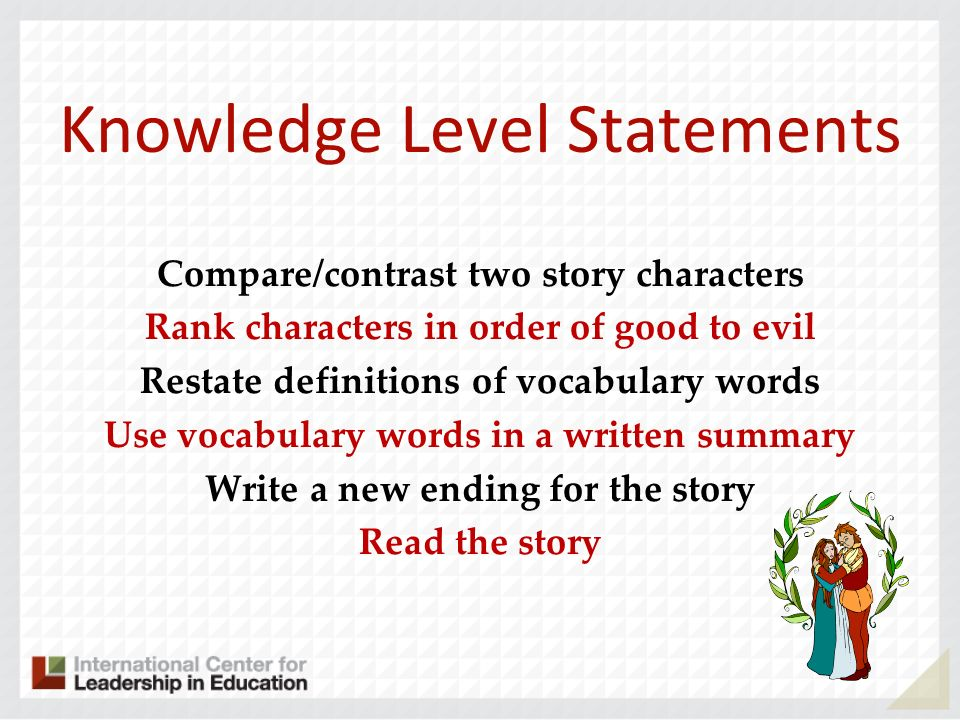 Knowledge Level Statements Compare/contrast two story characters Rank characters in order of good to evil Restate definitions of vocabulary words Use