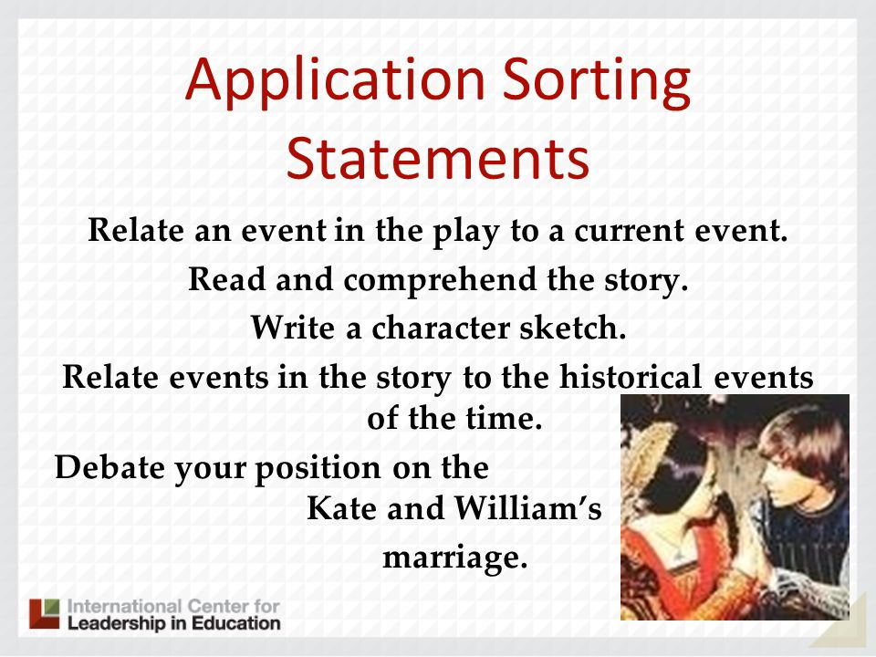 Application Sorting Statements Relate an event in the play to a current event. Read and comprehend the story. Write a character sketch. Relate events