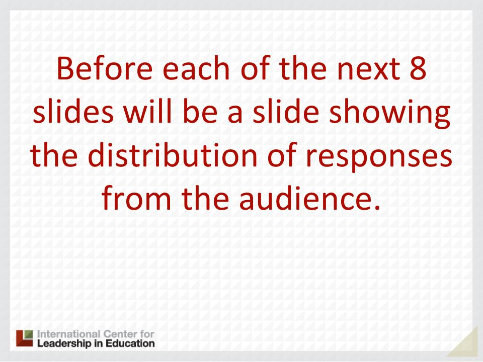 Before each of the next 8 slides will be a slide showing the distribution of responses from the audience.