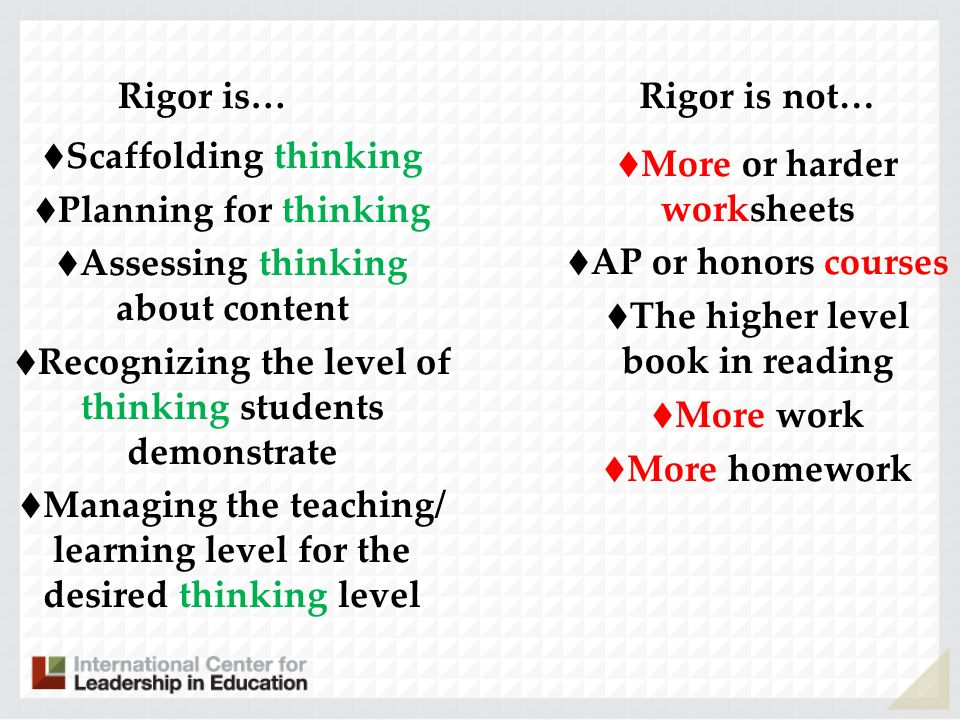 Rigor is… Scaffolding thinking Planning for thinking Assessing thinking about content Recognizing the level of thinking students demonstrate Managing