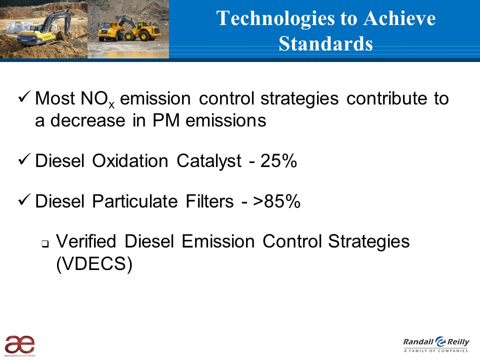 Technologies to Achieve Standards Most NO x emission control strategies contribute to a decrease in PM emissions Diesel Oxidation Catalyst - 25% Diese