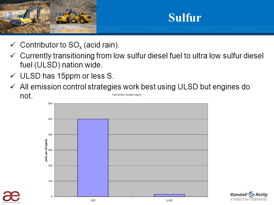 Sulfur Contributor to SO x (acid rain). Currently transitioning from low sulfur diesel fuel to ultra low sulfur diesel fuel (ULSD) nation wide. ULSD h