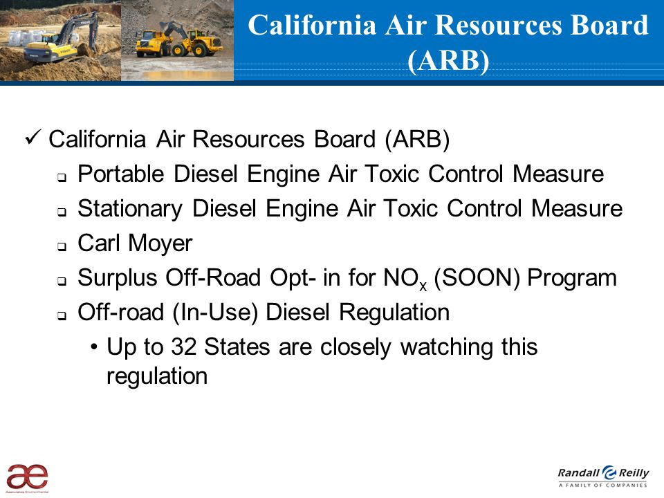 California Air Resources Board (ARB) Portable Diesel Engine Air Toxic Control Measure Stationary Diesel Engine Air Toxic Control Measure Carl Moyer Su