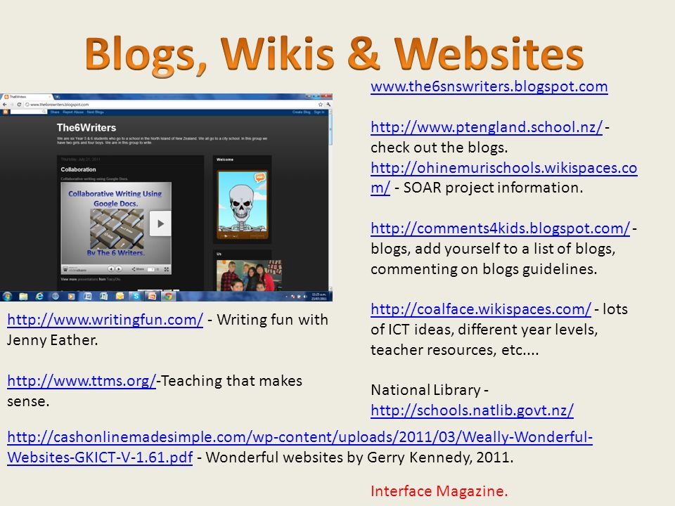 www.the6snswriters.blogspot.com http://www.ptengland.school.nz/http://www.ptengland.school.nz/ - check out the blogs.