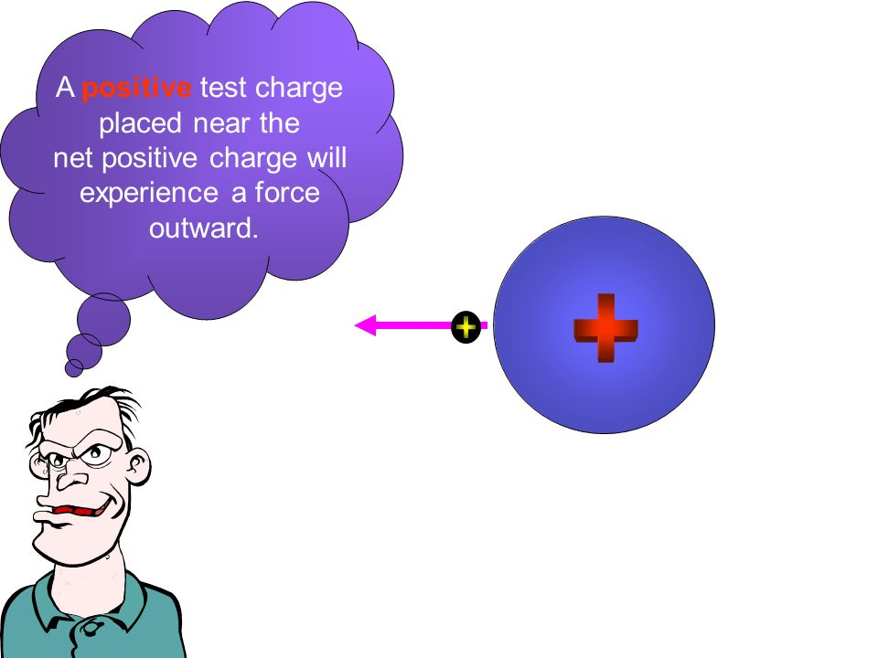 A positive test charge placed near the net positive charge will experience a force outward.