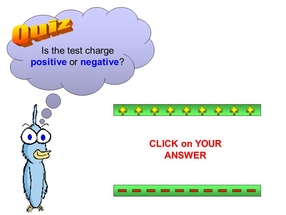 Is the test charge positive or negative CLICK on YOUR ANSWER