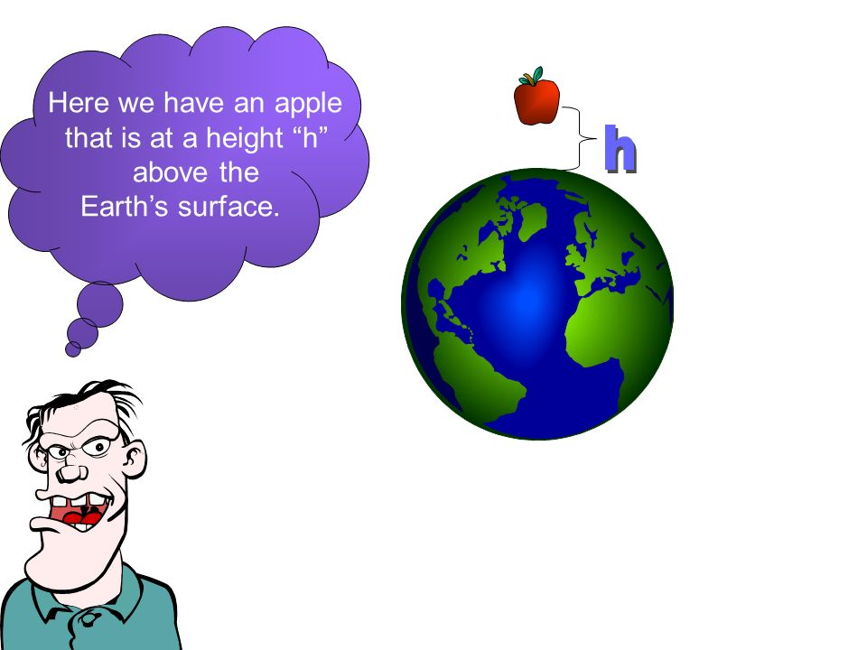 Here we have an apple that is at a height h above the Earths surface.