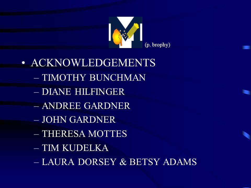 ACKNOWLEDGEMENTS –TIMOTHY BUNCHMAN –DIANE HILFINGER –ANDREE GARDNER –JOHN GARDNER –THERESA MOTTES –TIM KUDELKA –LAURA DORSEY & BETSY ADAMS (p. brophy)