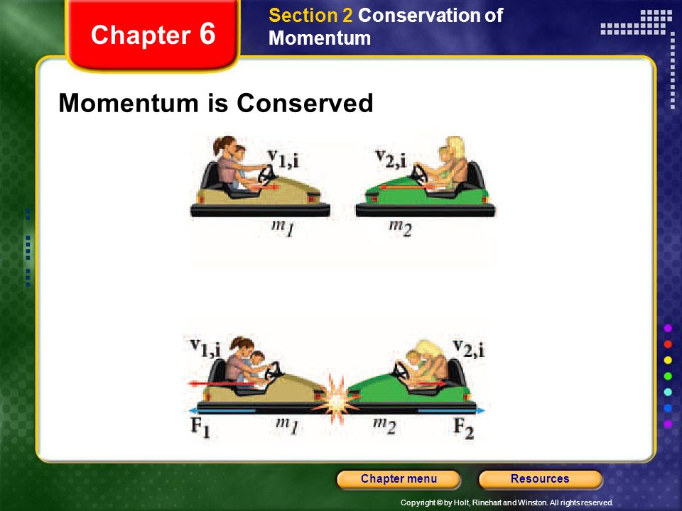 Copyright © by Holt, Rinehart and Winston. All rights reserved. ResourcesChapter menu Section 2 Conservation of Momentum Chapter 6 Momentum is Conserv
