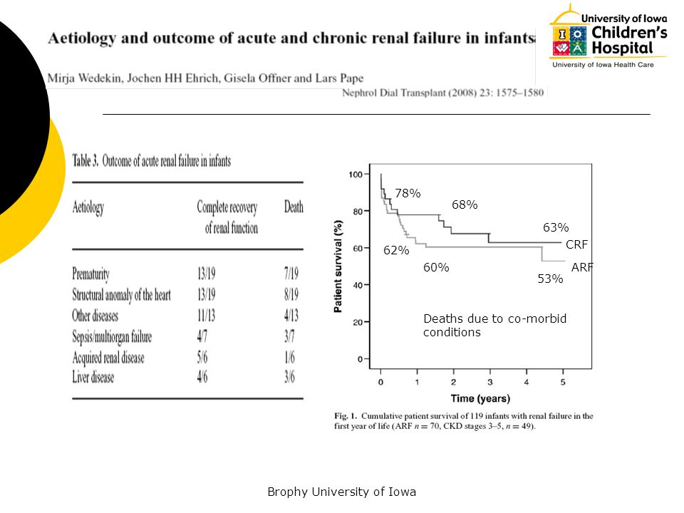 62% 60% 53% Deaths due to co-morbid conditions ARF CRF 78% 63% 68%