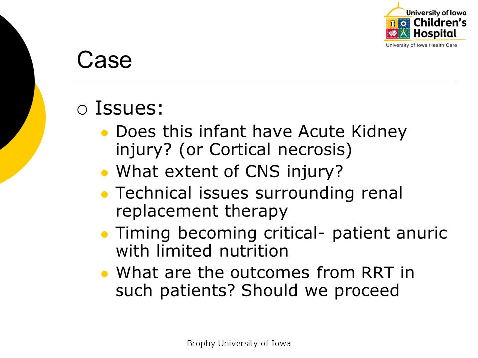 Brophy University of Iowa Case Issues: Does this infant have Acute Kidney injury? (or Cortical necrosis) What extent of CNS injury? Technical issues s