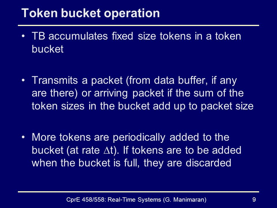 CprE 458/558: Real-Time Systems (G. Manimaran)8 Token Bucket Algorithm (contd.) (a) Before (b) After 5-34