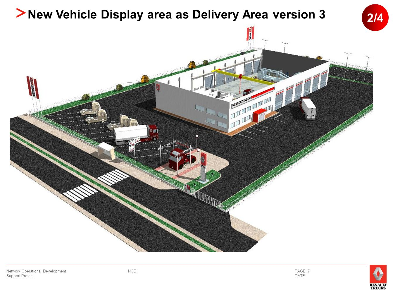 NOD Network Operational Development Support Project PAGE 8 DATE Vehicle Delivery Strip Sign 4000 X 900 Vehicle Delivery Strip Sign 4000 X 900 Lighting Customer Parking New Vehicle Display area as Delivery Area version 3 3/4