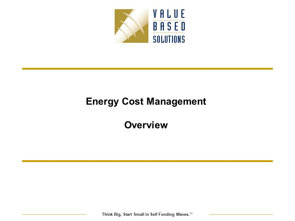 Think Big, Start Small in Self Funding Waves. TM Energy Cost Management Overview