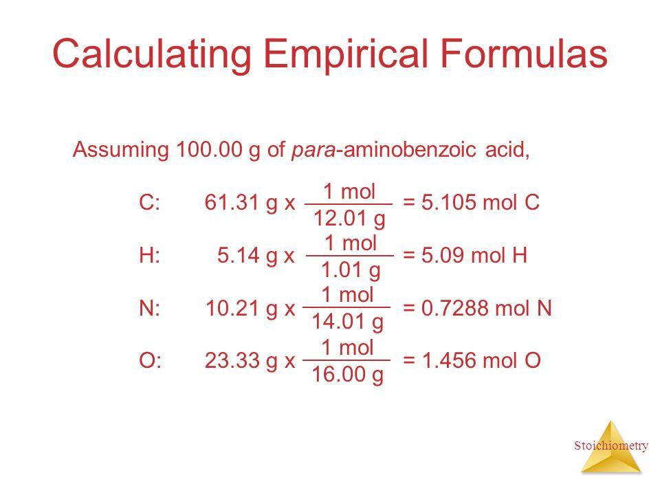 Stoichiometry Calculating Empirical Formulas Assuming 100.00 g of para-aminobenzoic acid, C:61.31 g x = 5.105 mol C H: 5.14 g x= 5.09 mol H N:10.21 g