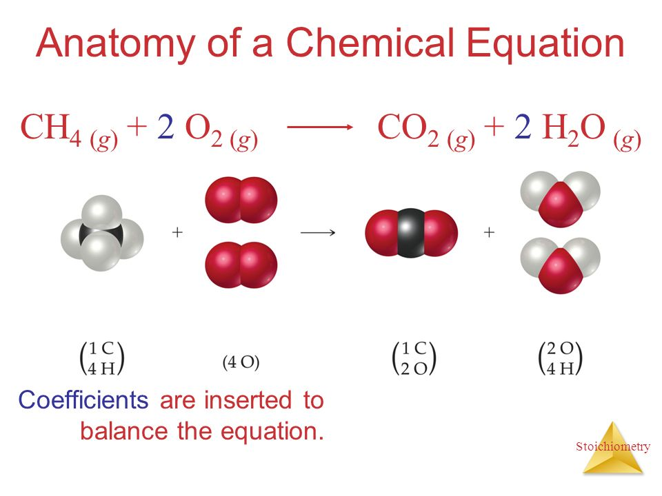 Stoichiometry Anatomy of a Chemical Equation Coefficients are inserted to balance the equation. CH 4 (g) + 2 O 2 (g) CO 2 (g) + 2 H 2 O (g)