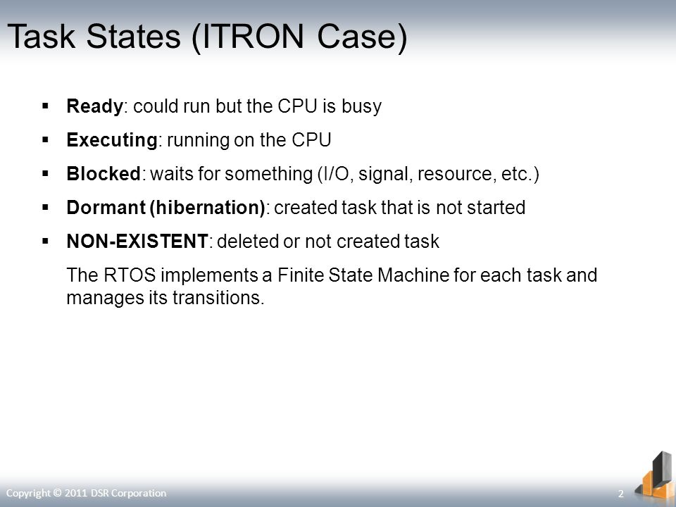 Task States (ITRON Case) Ready: could run but the CPU is busy Executing: running on the CPU Blocked: waits for something (I/O, signal, resource, etc.)