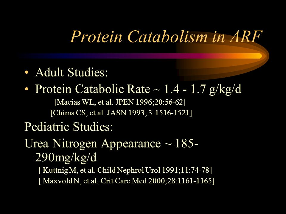 Protein Catabolism in ARF Adult Studies: Protein Catabolic Rate ~ 1.4 - 1.7 g/kg/d [Macias WL, et al.