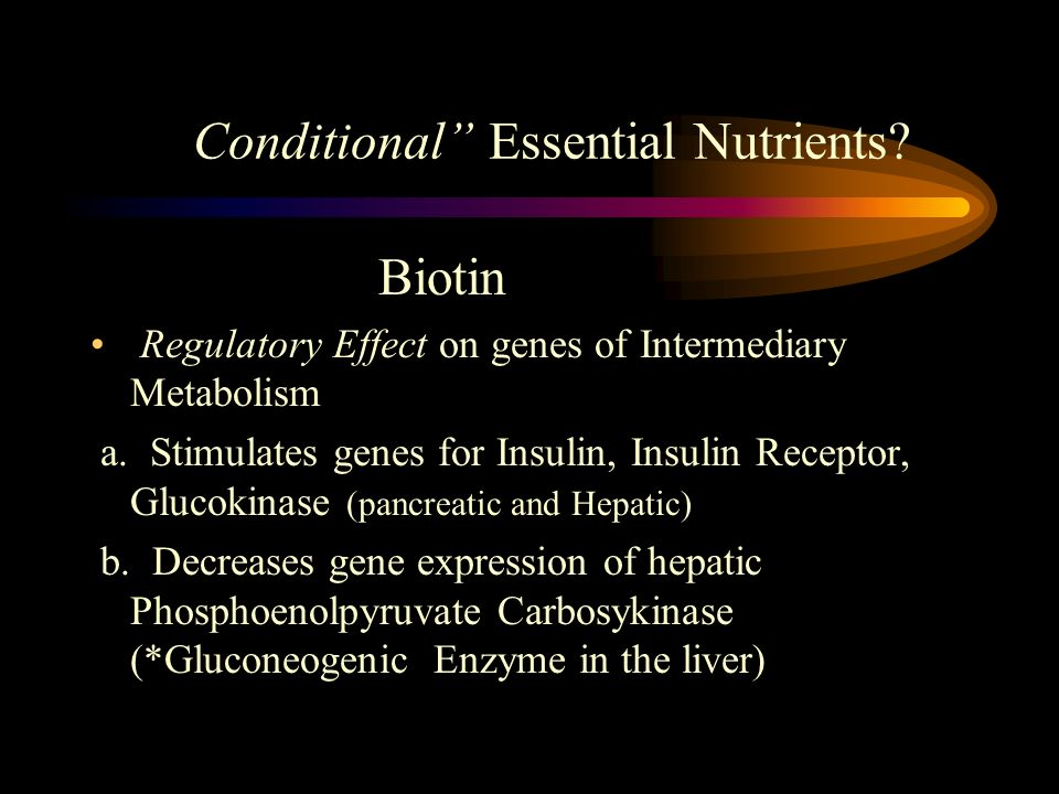 Biotin Regulatory Effect on genes of Intermediary Metabolism a. Stimulates genes for Insulin, Insulin Receptor, Glucokinase (pancreatic and Hepatic) b