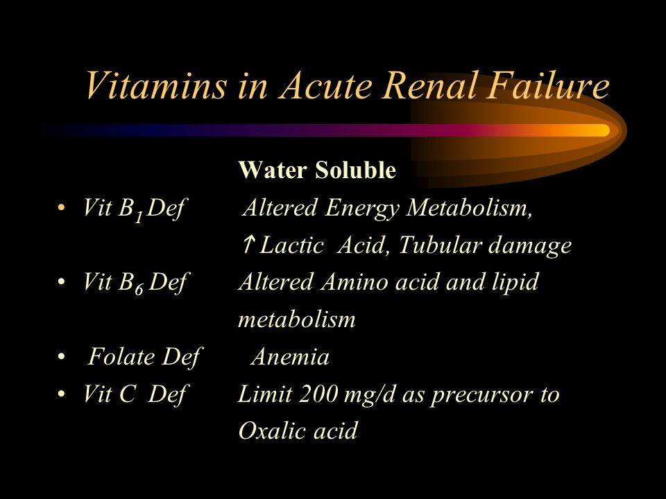 Vitamins in Acute Renal Failure Water Soluble Vit B 1 Def Altered Energy Metabolism, Lactic Acid, Tubular damage Vit B 6 Def Altered Amino acid and li
