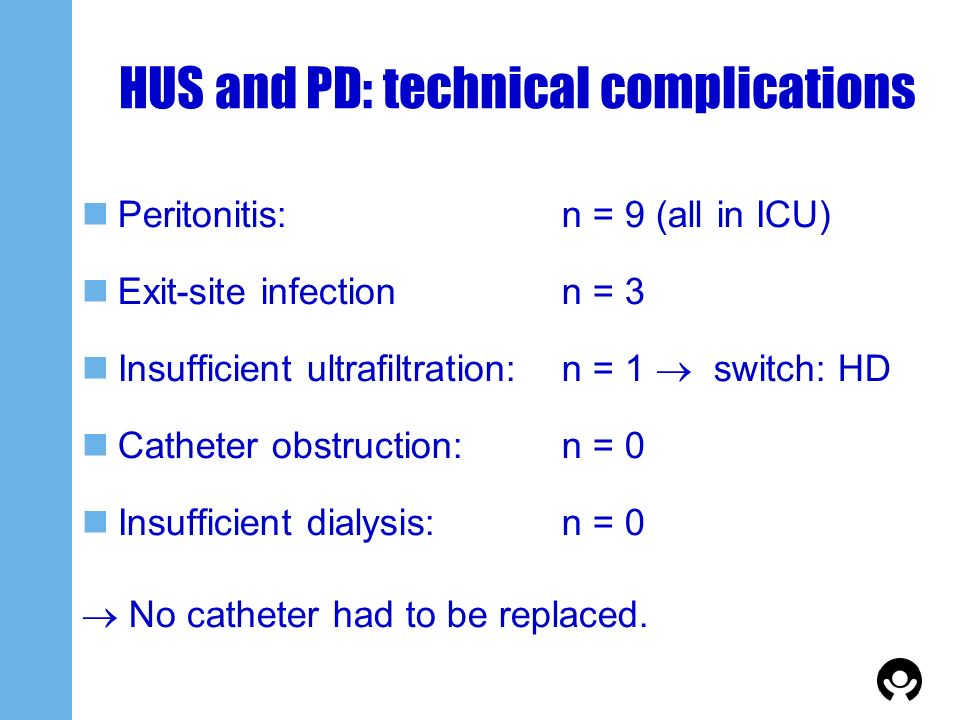 HUS and PD: technical complications Peritonitis:n = 9 (all in ICU) Exit-site infectionn = 3 Insufficient ultrafiltration:n = 1 switch: HD Catheter obs