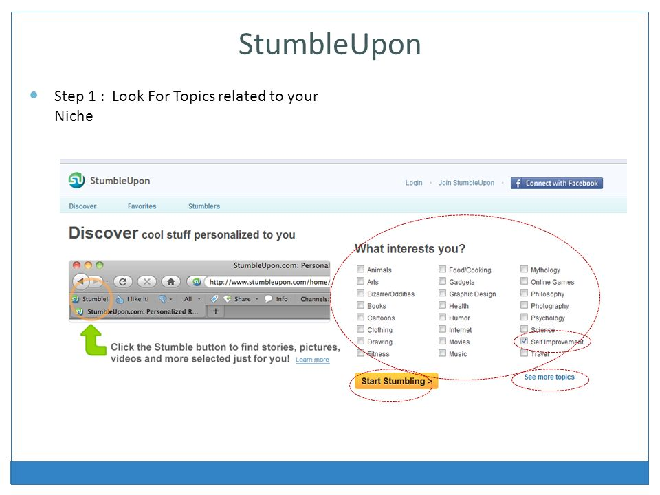 StumbleUpon Step 1 : Look For Topics related to your Niche