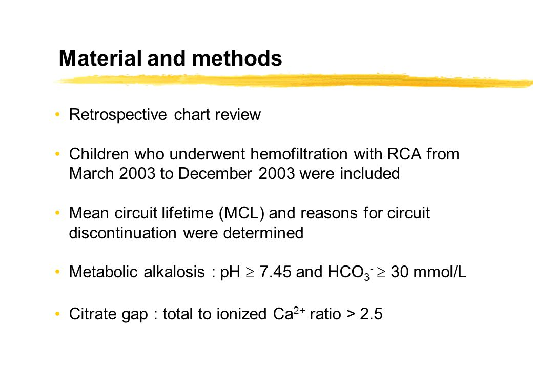Material and methods Retrospective chart review Children who underwent hemofiltration with RCA from March 2003 to December 2003 were included Mean cir