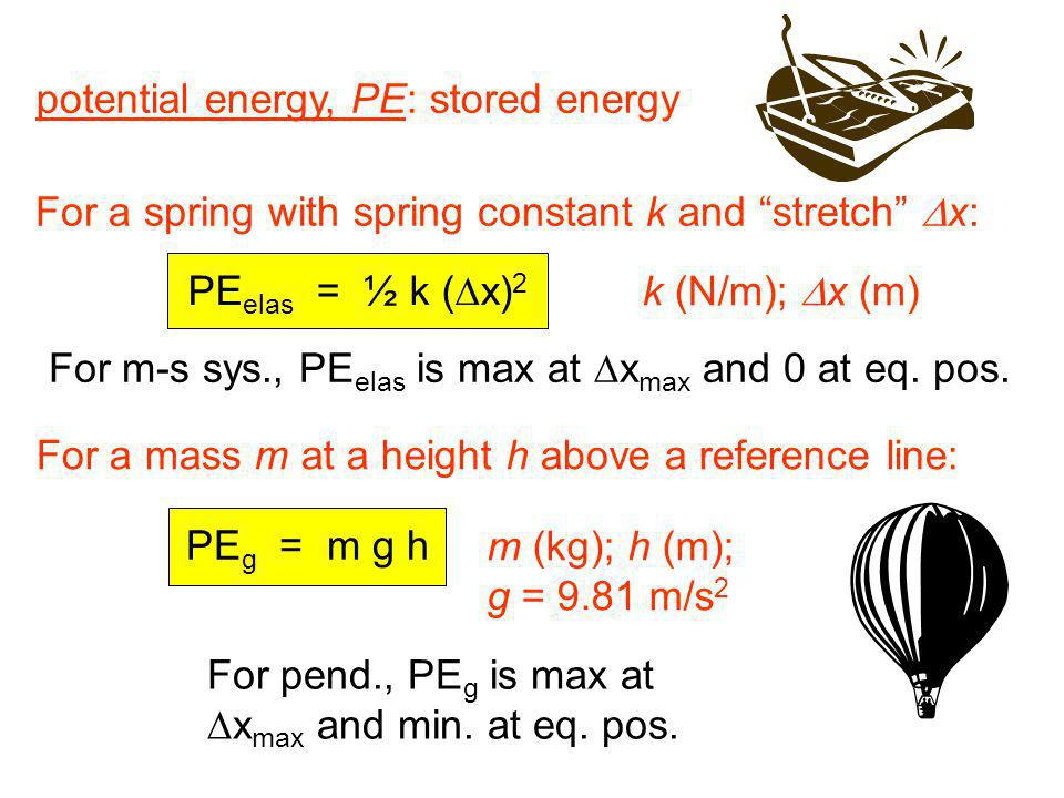 PE elas = ½ k ( x) 2 potential energy, PE: stored energy For a spring with spring constant k and stretch x: k (N/m); x (m) For a mass m at a height h
