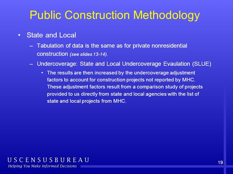 19 Public Construction Methodology State and Local –Tabulation of data is the same as for private nonresidential construction ( see slides 13-14). –Un