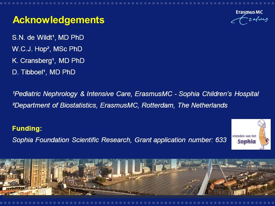 Acknowledgements S.N. de Wildt¹, MD PhD W.C.J. Hop², MSc PhD K.