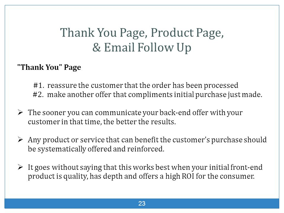23 Thank You Page, Product Page, & Email Follow Up