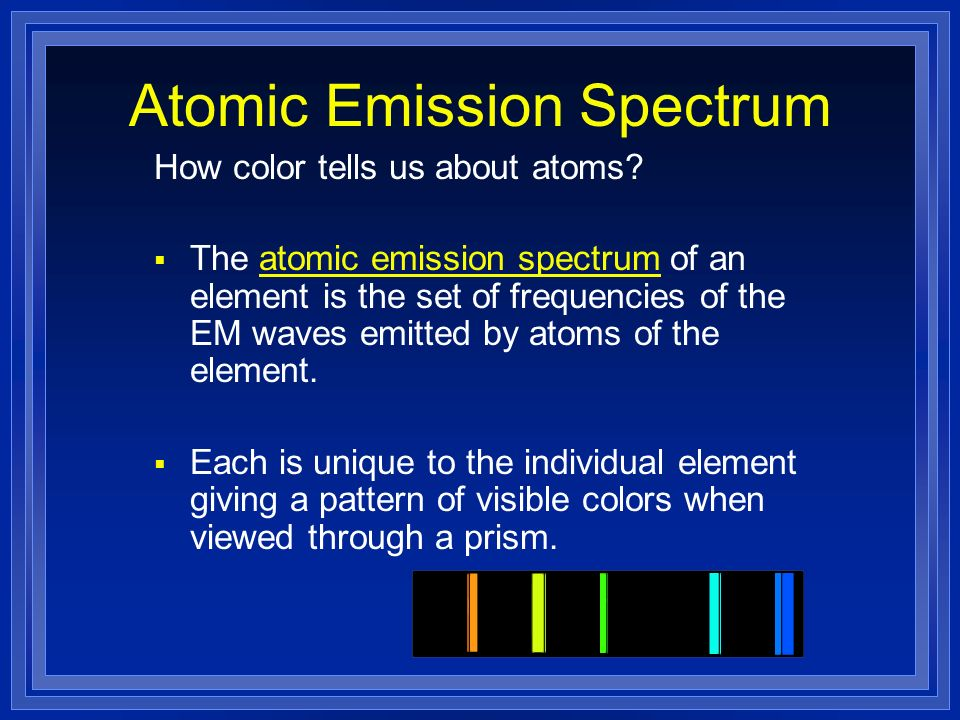 Atomic Emission Spectrum How color tells us about atoms? The atomic emission spectrum of an element is the set of frequencies of the EM waves emitted