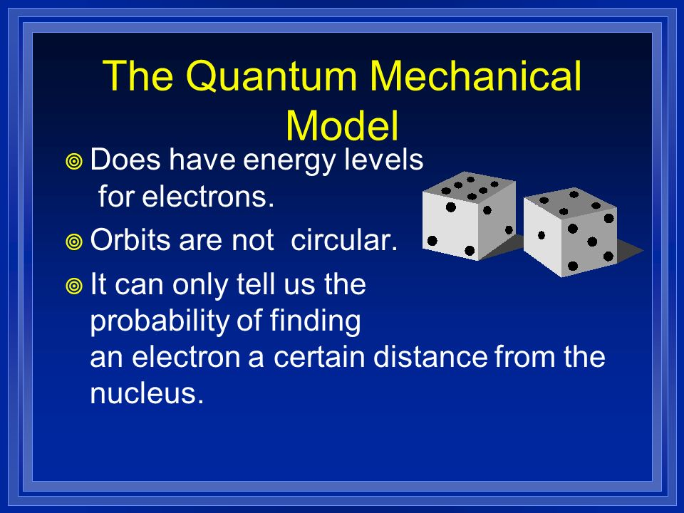 Does have energy levels for electrons. Orbits are not circular. It can only tell us the probability of finding an electron a certain distance from the