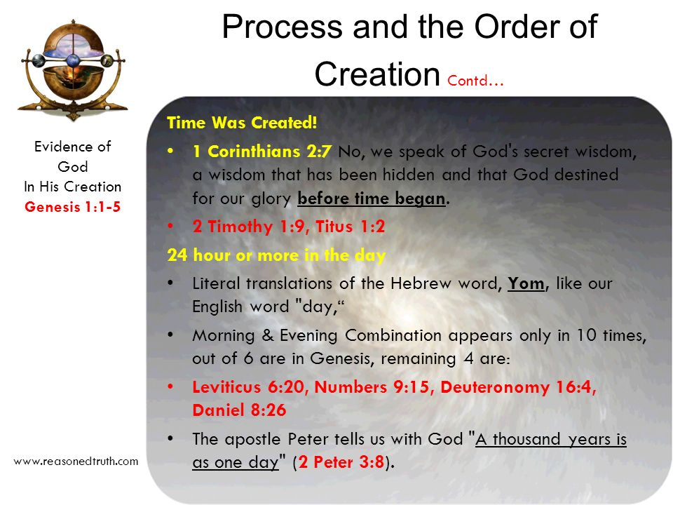 Evidence of God In His Creation Genesis 1:1-5 www.reasonedtruth.com Time Was Created.