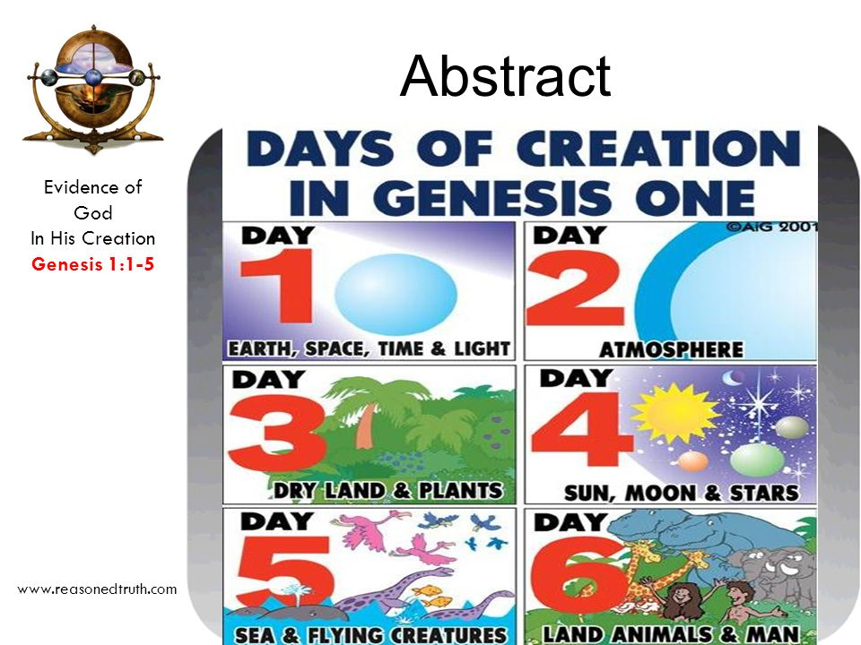 Evidence of God In His Creation Genesis 1:1-5 www.reasonedtruth.com Abstract Introduction in Depth Process and the Order of Creation