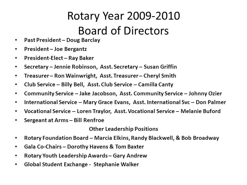 Rotary Year 2009-2010 Board of Directors Past President – Doug Barclay President – Joe Bergantz President-Elect – Ray Baker Secretary – Jennie Robinso