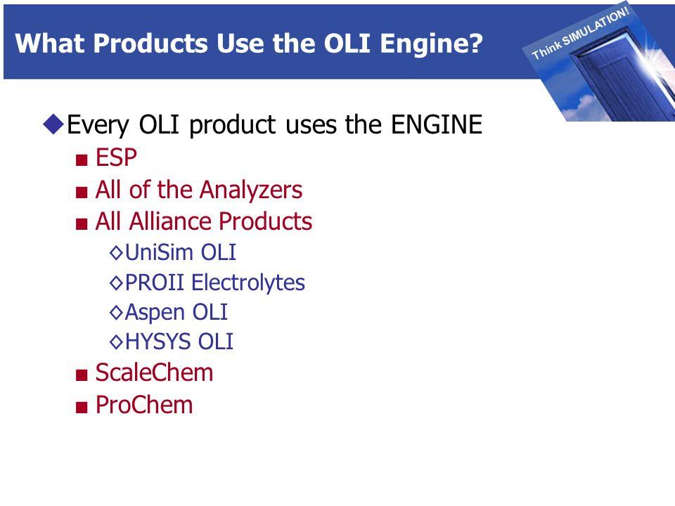 THINK SIMULATION Think SIMULATION. What Products Use the OLI Engine.