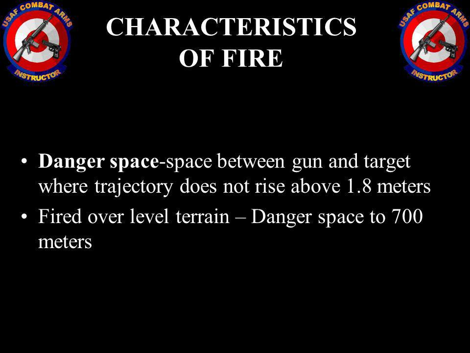 Danger space-space between gun and target where trajectory does not rise above 1.8 meters Fired over level terrain – Danger space to 700 meters