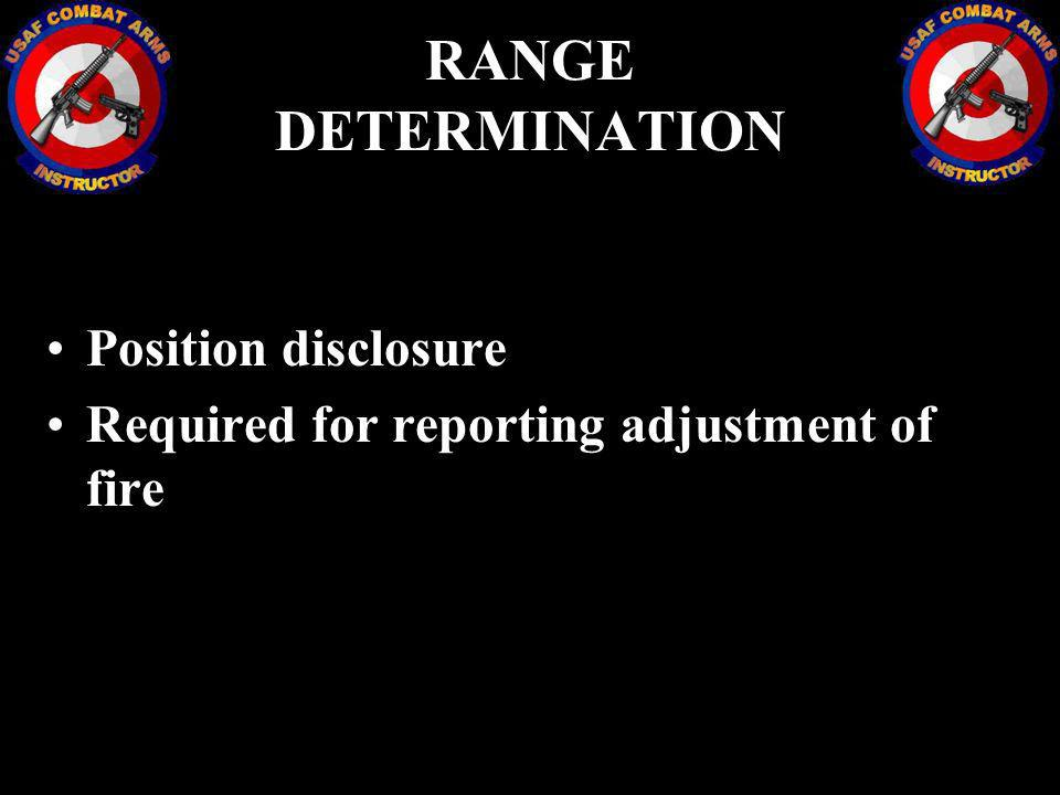 RANGE DETERMINATION Position disclosure Required for reporting adjustment of fire