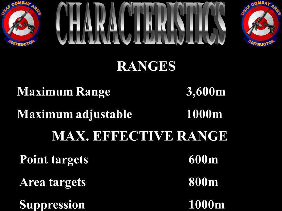 RANGES Maximum Range3,600m Maximum adjustable 1000m MAX. EFFECTIVE RANGE Point targets 600m Area targets800m Suppression1000m