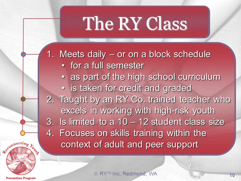 RY TM Inc, Redmond, WA 10 1. Meets daily – or on a block schedule for a full semesterfor a full semester as part of the high school curriculumas part