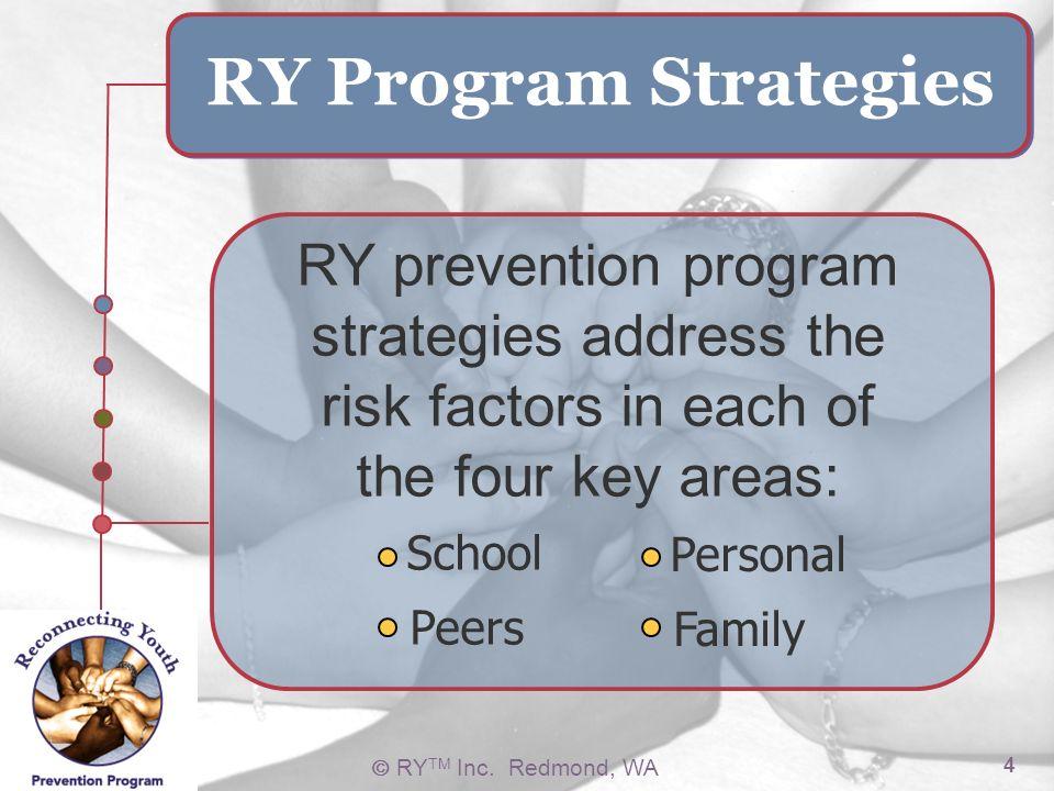 RY TM Inc. Redmond, WA 4 School Peers Personal Family RY Program Strategies RY prevention program strategies address the risk factors in each of the f